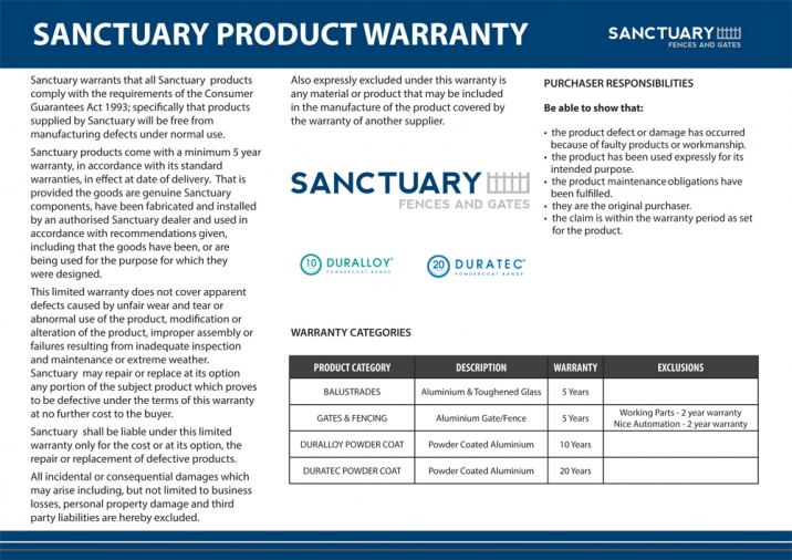 Sanctuary Fence and Gate 5 year Warranty